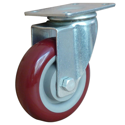Red medium duty swivel caster